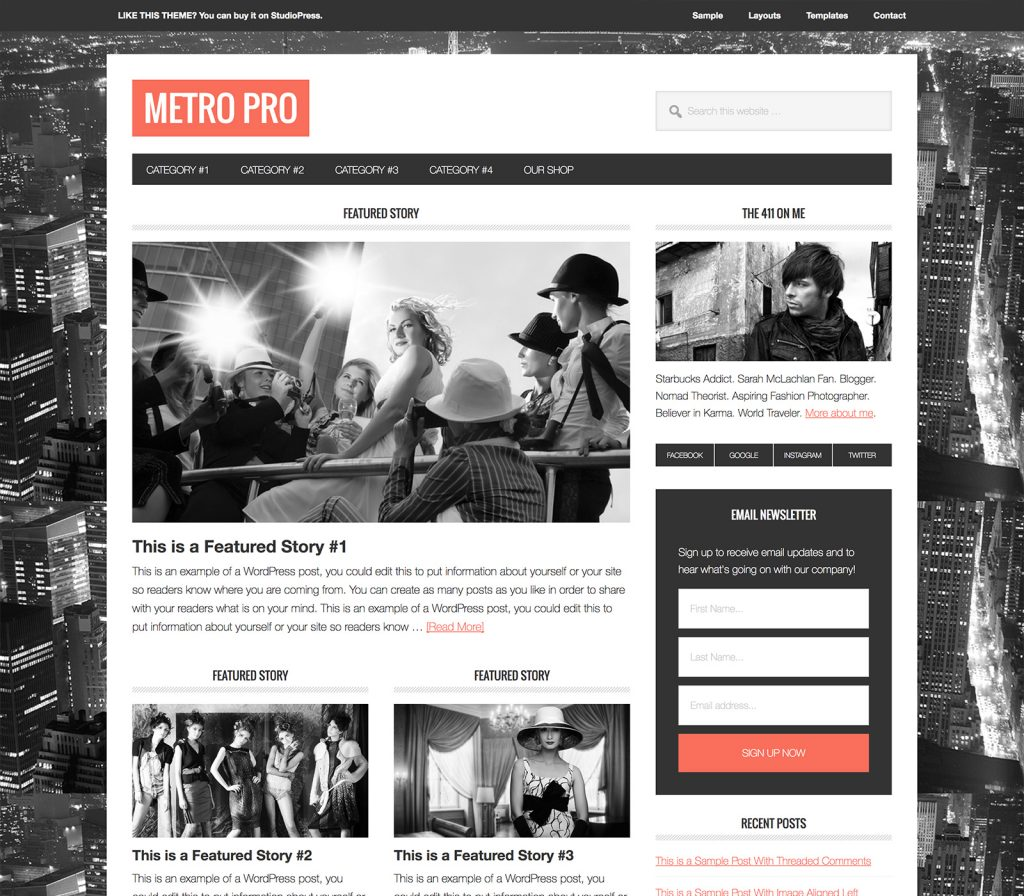 plantilla metro pro theme studiopress